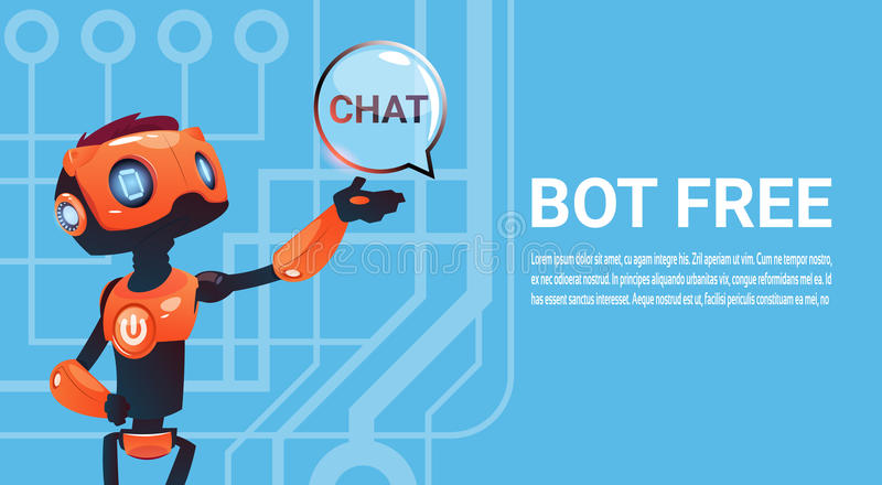 Free Chat Bot, Robot Virtual Assistance Element Of Website Or Mobile Applications, Artificial Intelligence Concept. Flat Vector Illustration royalty free illustration