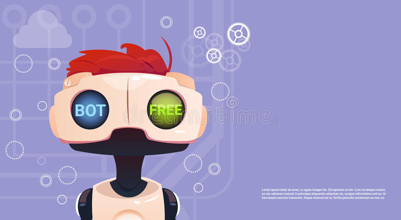 Free Chat Bot, Robot Virtual Assistance Element Of Website Or Mobile Applications, Artificial Intelligence Concept. Flat Vector Illustration vector illustration