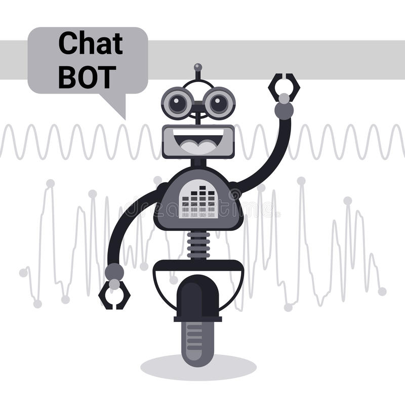 Free Chat Bot, Robot Virtual Assistance Element Of Website Or Mobile Applications, Artificial Intelligence Concept. Vector Illustration royalty free illustration