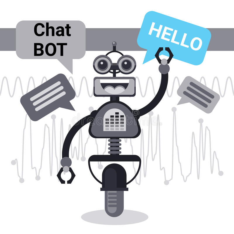 Free Chat Bot Says Hello, Robot Virtual Assistance Element Of Website Or Mobile Applications, Artificial Intelligence. Concept Vector Illustration vector illustration