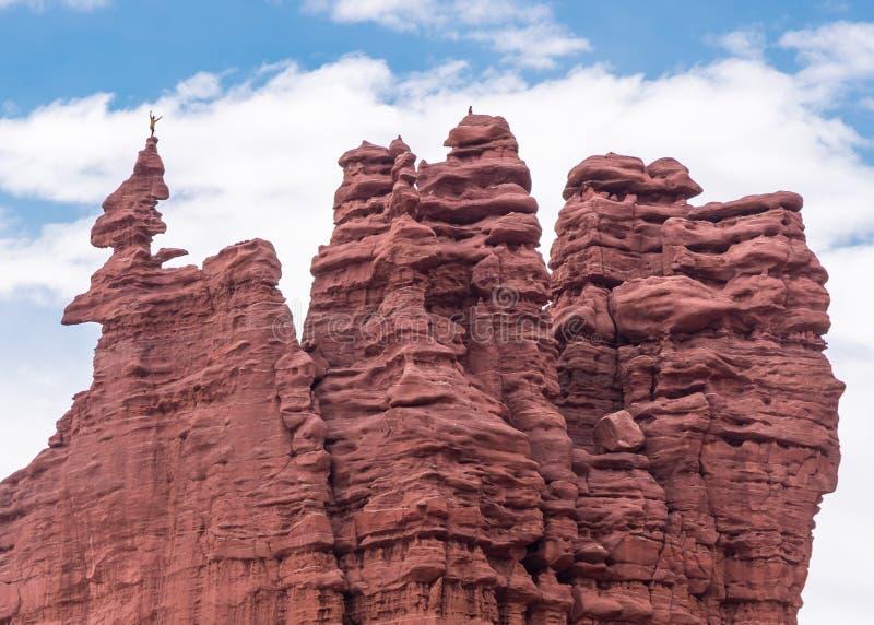 Free-climber, Fisher Towers, UT royalty free stock photo