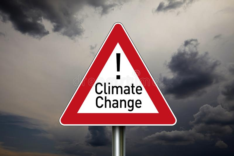 Traffic sign with the word climate change stock image