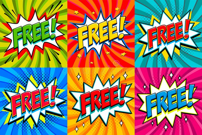 Free - Comic book style stickers. Free banners in pop art comic style. Color summer banners in pop art style Ideal for. Web. Decorative backgrounds with bomb royalty free illustration