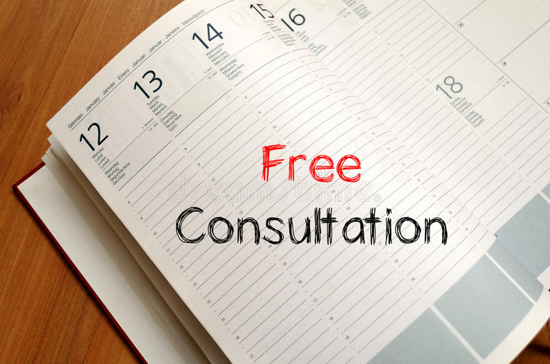 Free consultation write on notebook stock photos