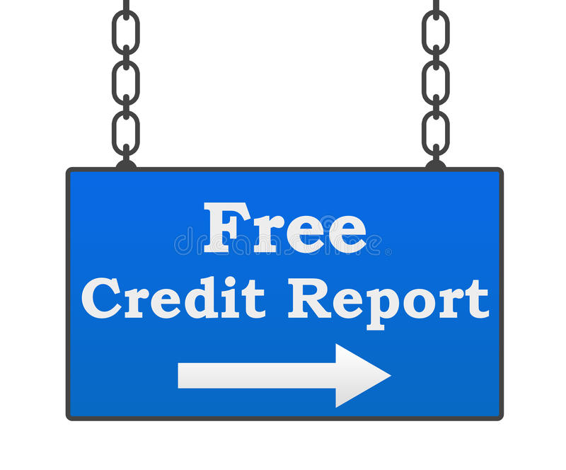 Free Credit Report Signboard. Free credit report text written over signboard with blue background stock illustration