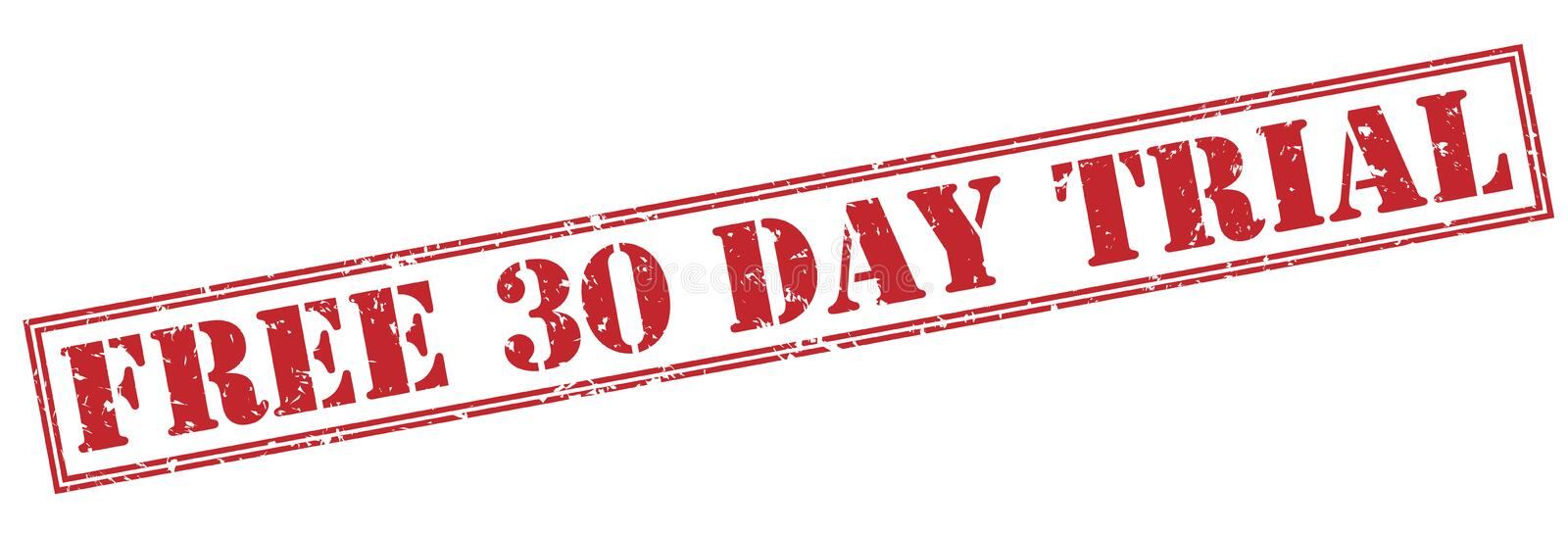 Free 30 day trial red stamp. On white background royalty free illustration
