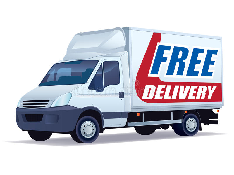 Free delivery. White commercial vehicle - delivery truck with a sign free delivery stock illustration