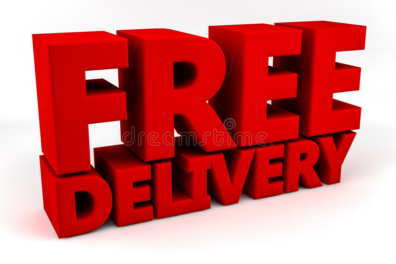 Free Delivery. The words Free Delivery writted in red set against a white background