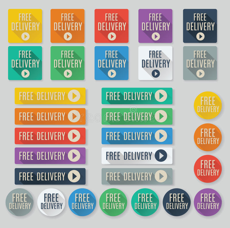 Free Delivery call to action buttons. Set of flat web buttons with call to action text. Free Delivery buttons feature popular color palette for flat UI designs royalty free illustration