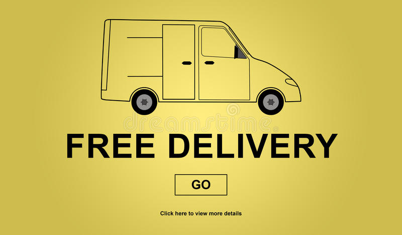 Free delivery concept. On yellow background vector illustration