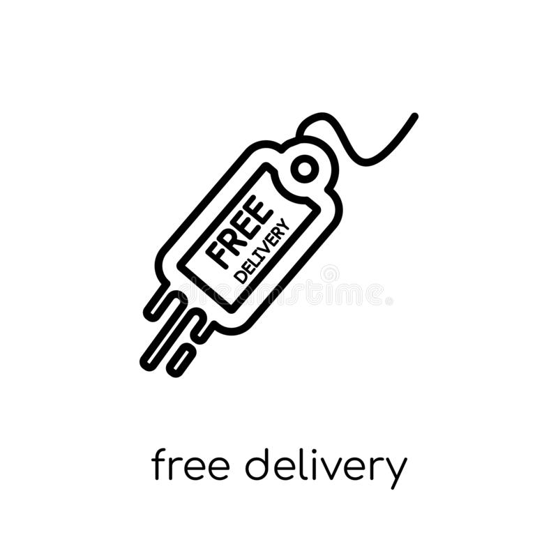 free delivery icon. Trendy modern flat linear vector free delivery icon on white background from thin line Delivery and logistic royalty free illustration