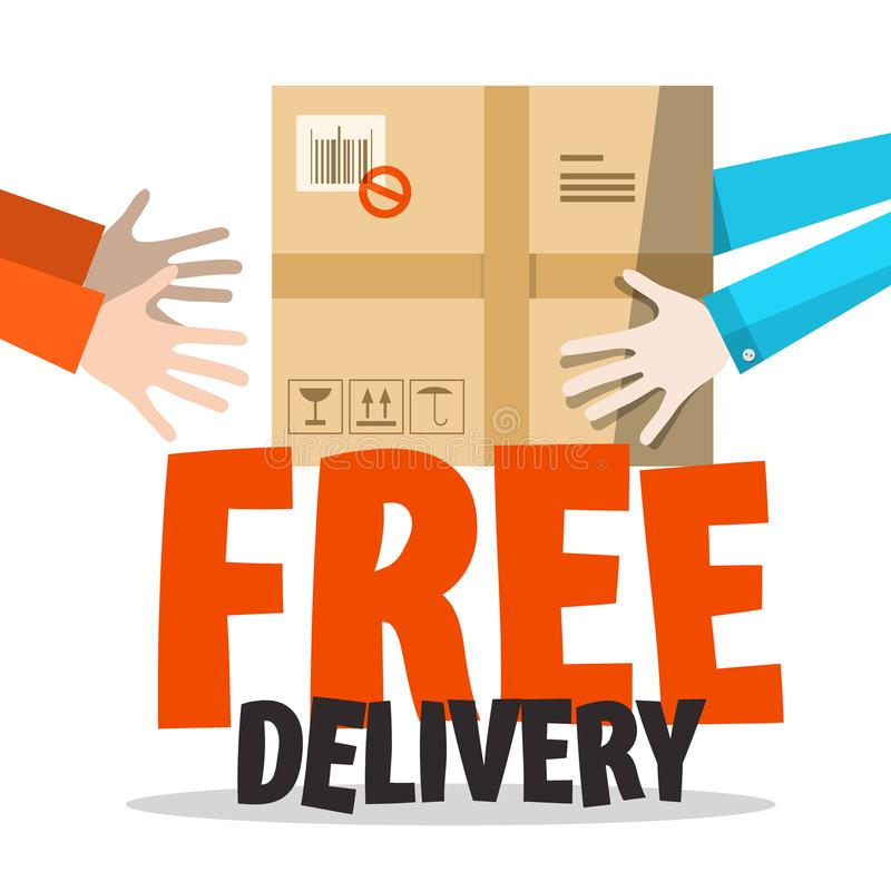 Download Free Delivery Symbol With Parcel In Human Hands Stock Vector - Illustration of shop, sign: 117816394
