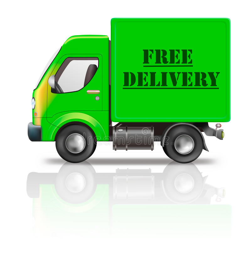 Free delivery truck shipping package from web shop vector illustration