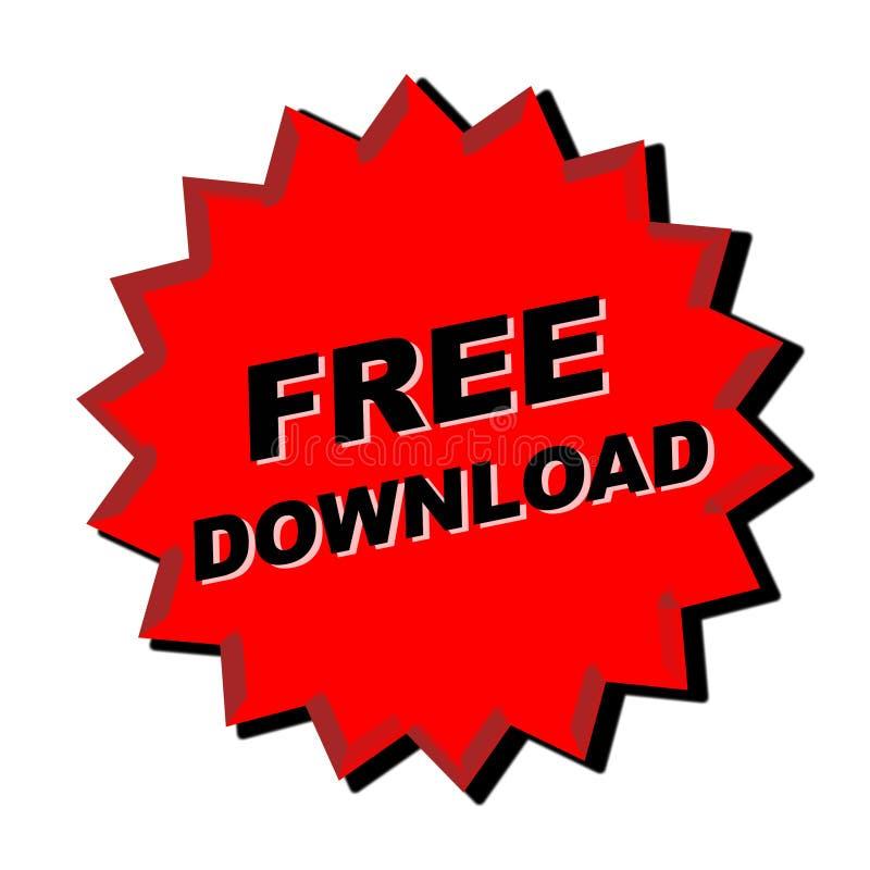 Free download Sign. Red free download sign - web button - internet design stock illustration