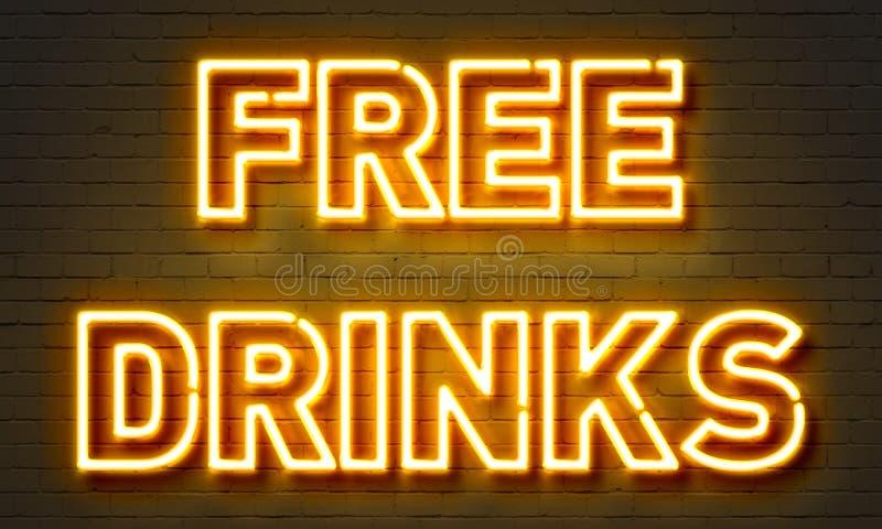 Free drinks neon sign vector illustration
