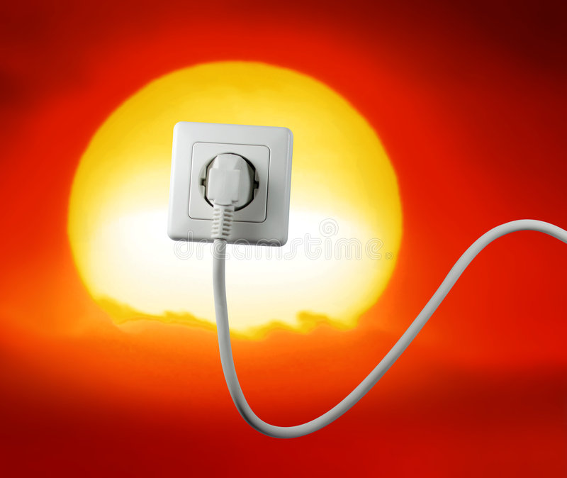 Free energy. White socket on a bautiful sunset free energy stock illustration