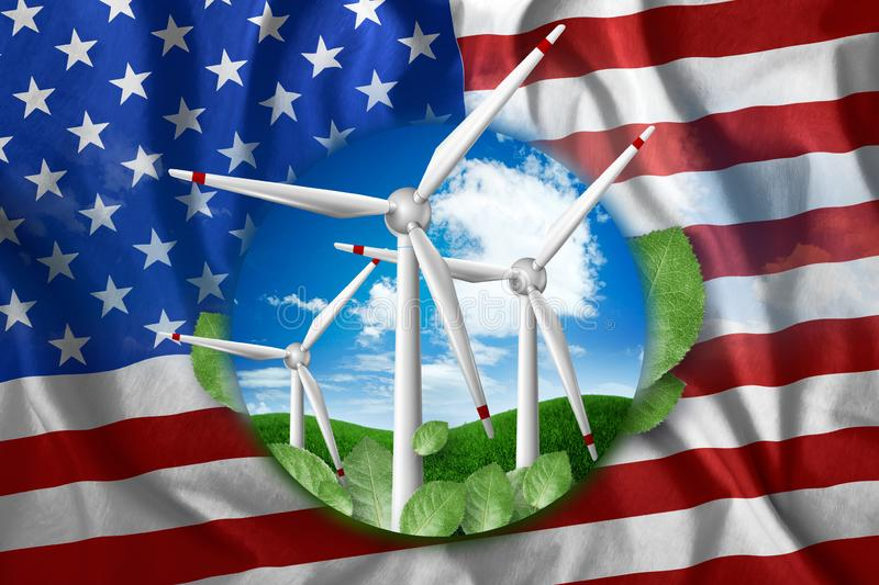 Free energy, windmills against the background of nature and the flag of USA. The concept of clean energy, renewable energy sources. Free electricity, Mixed stock illustration