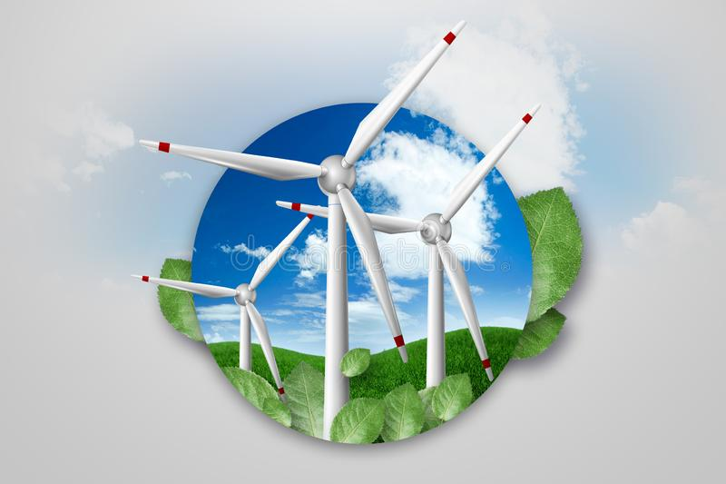Free energy, windmills against the background of nature. light background. The concept of clean energy, renewable energy sources,. Free energy, windmills against royalty free illustration