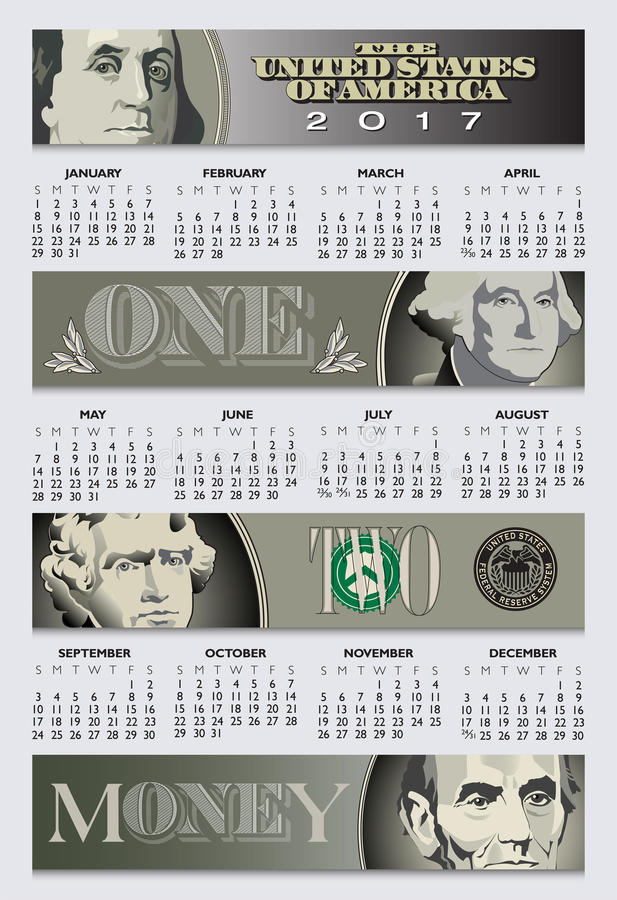 Free enterprise is the theme of this 2017 calendar royalty free illustration