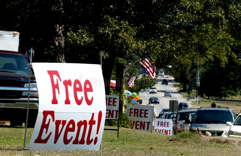 Free Event. A series of signs advertising a free event stock image