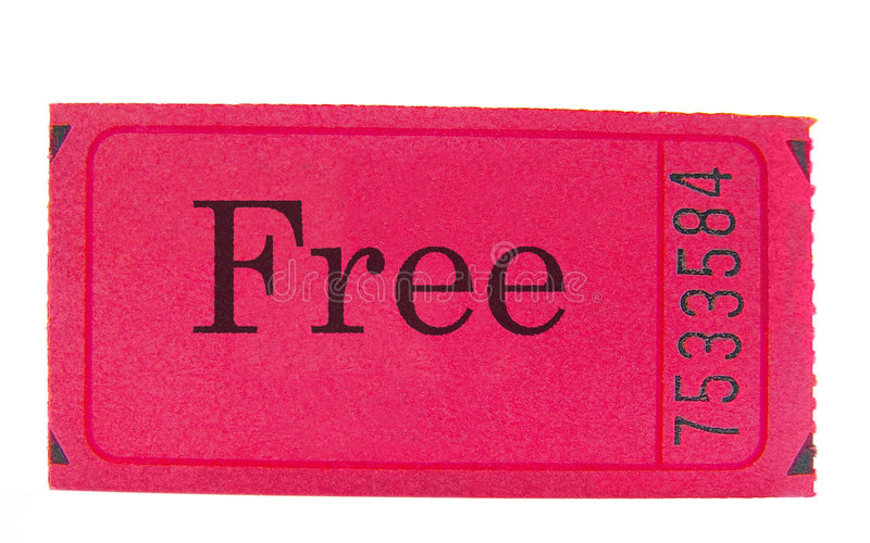 Free event. Pink ticket stub with free text, closeup isolated on white stock photos