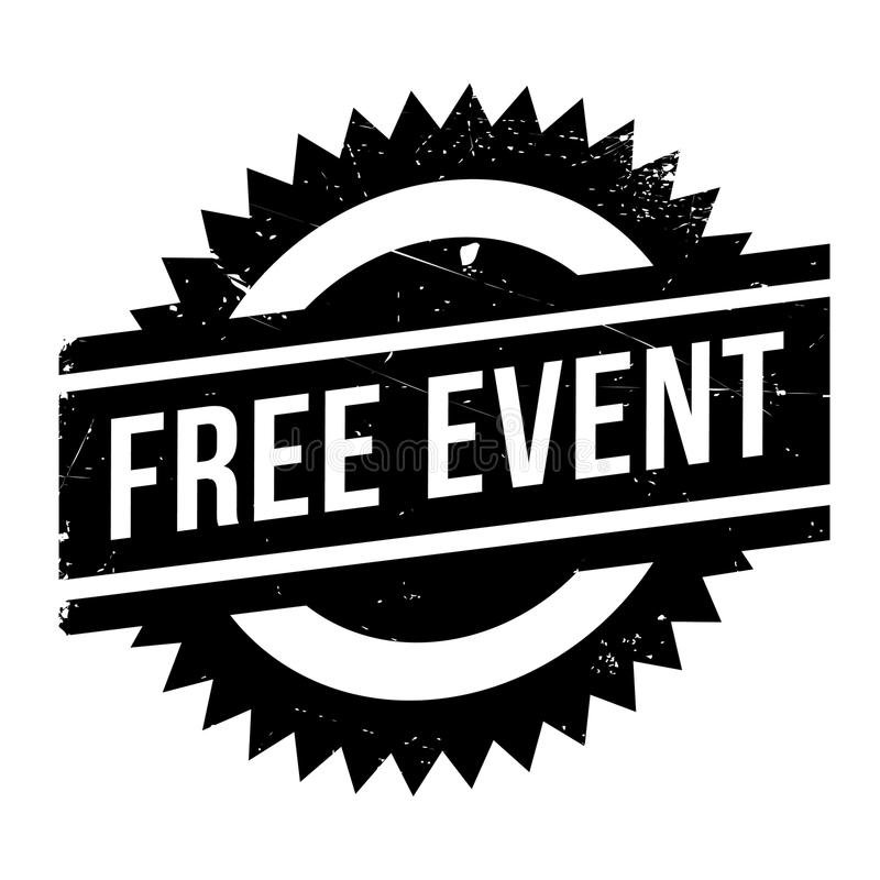 Free event stamp. Grunge design with dust scratches. Effects can be easily removed for a clean, crisp look. Color is easily changed royalty free illustration