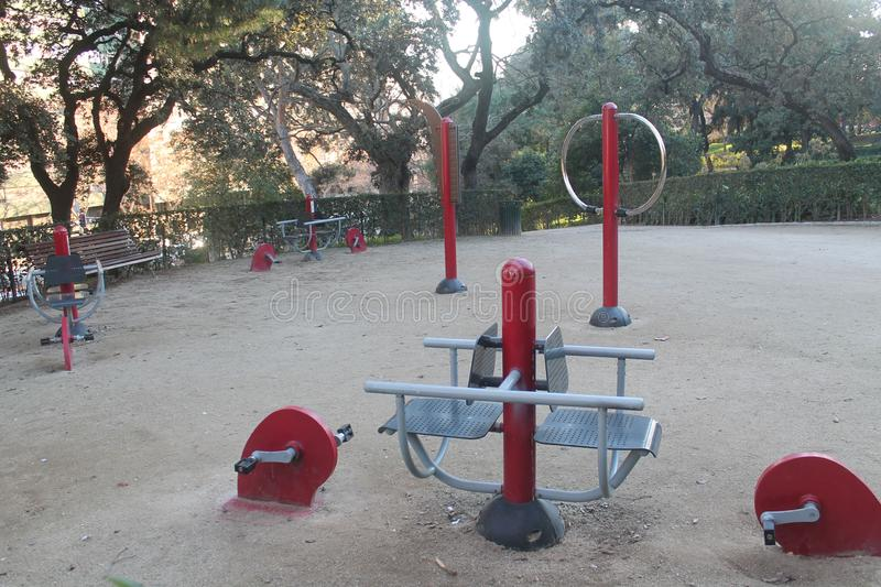 Free exercise equipment outdoors in the park royalty free stock photography