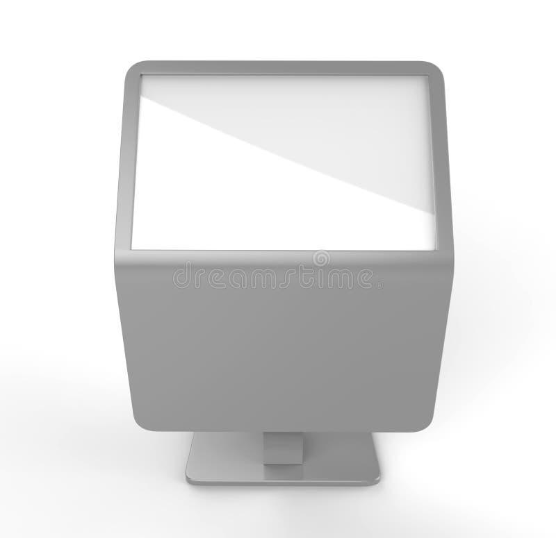 Free floor standing LCD touch screen kiosk. 3d render illustration. Free floor standing LCD touch screen kiosk for mock up design royalty free illustration