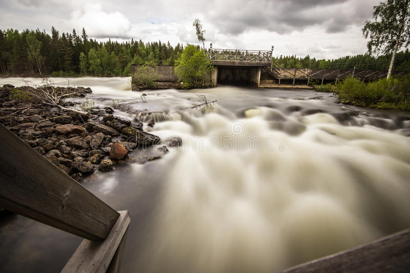 Free Flowing River in Sweden stock photography