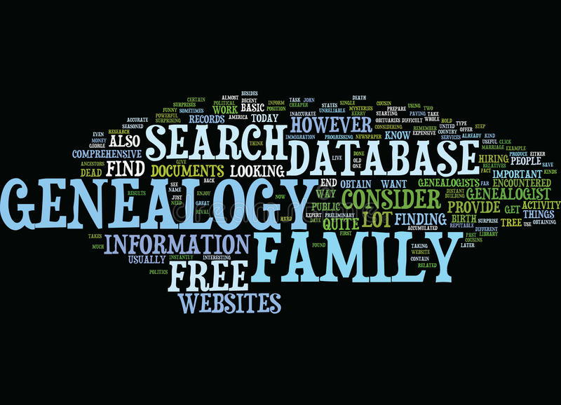 Free Genealogy Database Text Background Word Cloud Concept stock illustration