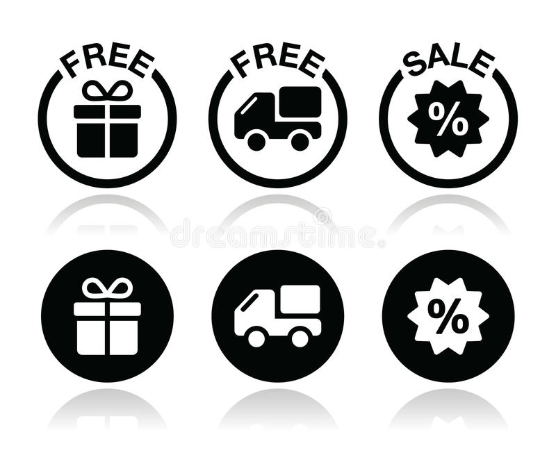 Free gift, free delivery, sale icons set. Shopping icons set - free present and shipping, sale icons set on white royalty free illustration