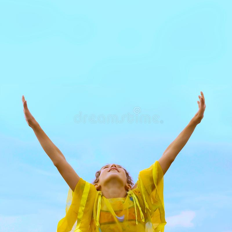 Free Girl on sky background royalty free stock photos