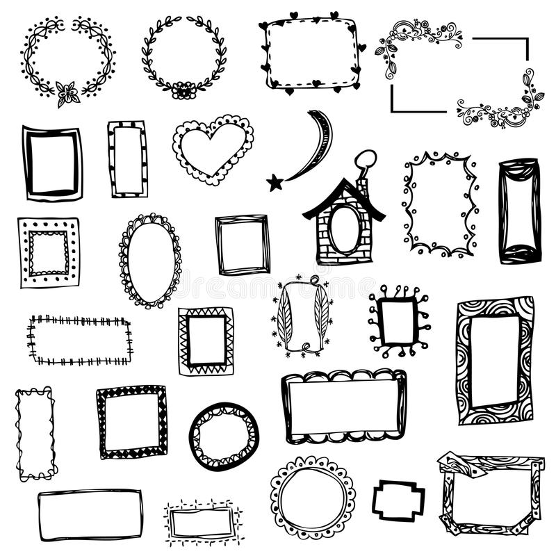 Free hand drawing of picture frame vector illustration on white isolated royalty free stock photography