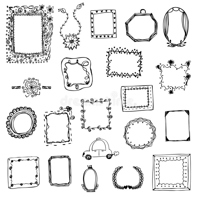 Free hand drawing of picture frame vector illustration on white isolated royalty free stock images