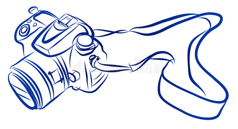 Free Hand Sketch of DSLR camera Vector stock illustration