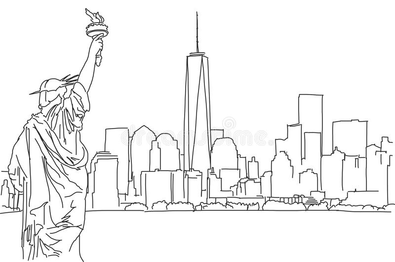 Free hand sketch of New York City skyline. Vector Scribble stock illustration