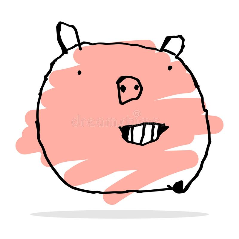 Free hand vector drawing of happy pig. royalty free stock images