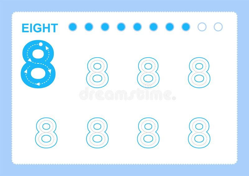 Free handwriting pages for writing numbers Learning numbers, Numbers tracing worksheet for kindergarten vector illustration
