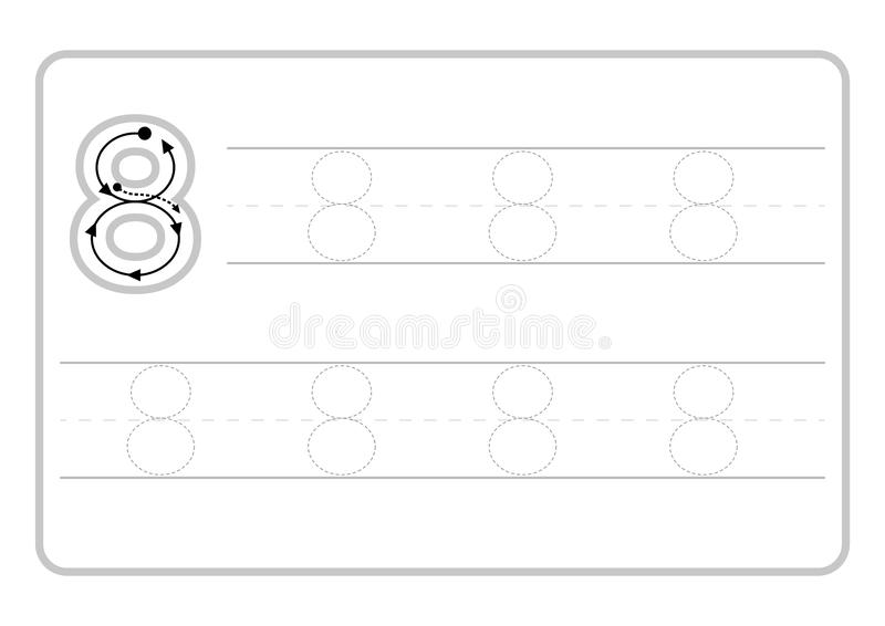 Free handwriting pages for writing numbers Learning numbers, Numbers tracing worksheet for kindergarten. Vector royalty free illustration