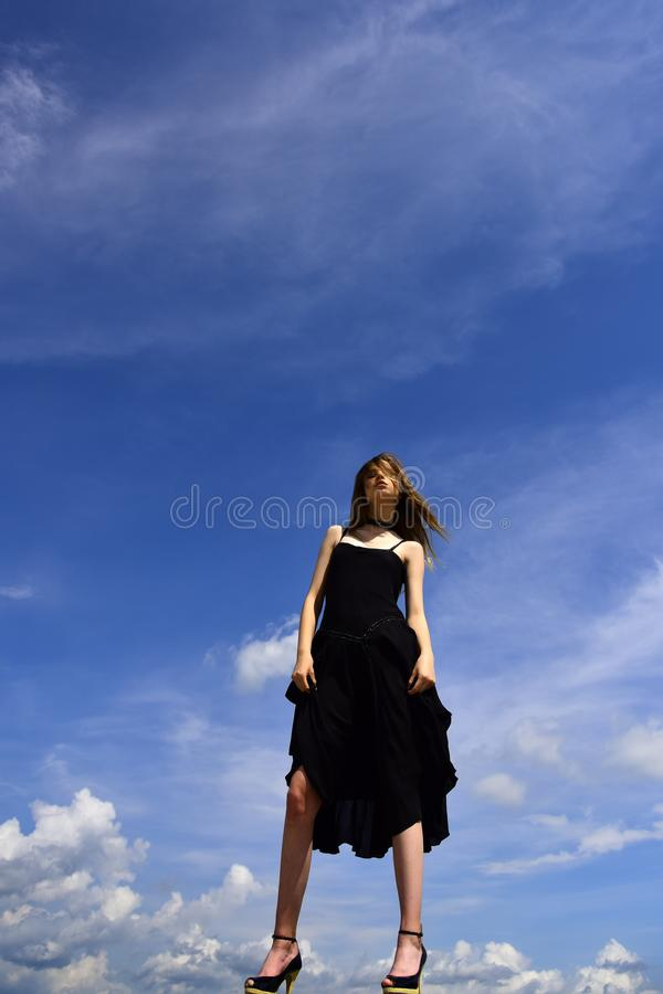 Free and happy. Joyful cute girl outdoor. Future success. Girl on blue sky. Fashion is her life. Woman with fash ion stock photo