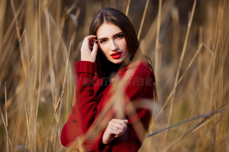 Free happy young woman. Beautiful female with long healthy hair enjoying sun light in park at sunset. Spring, autumn stock images
