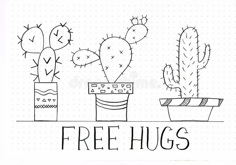 `Free Hugs` hand lettering phrase with doodles of cute catuctuses in different flower pots royalty free illustration