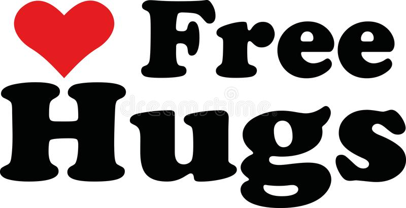Free hugs with heart. Vector stock illustration