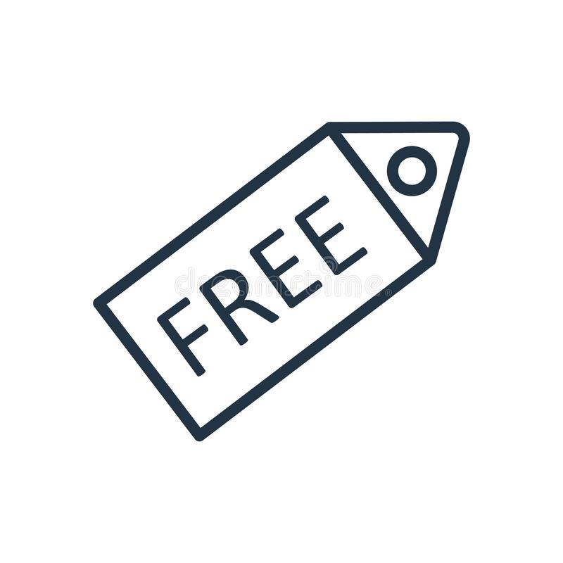 Free icon vector isolated on white background, Free sign royalty free illustration