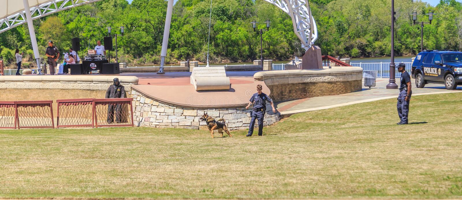 Free K-9 Police Dog Demonstration by Montgomery, Alabama Police Department. Montgomery, Alabama Police Department puts on a free public K-9 Police demonstration royalty free stock image