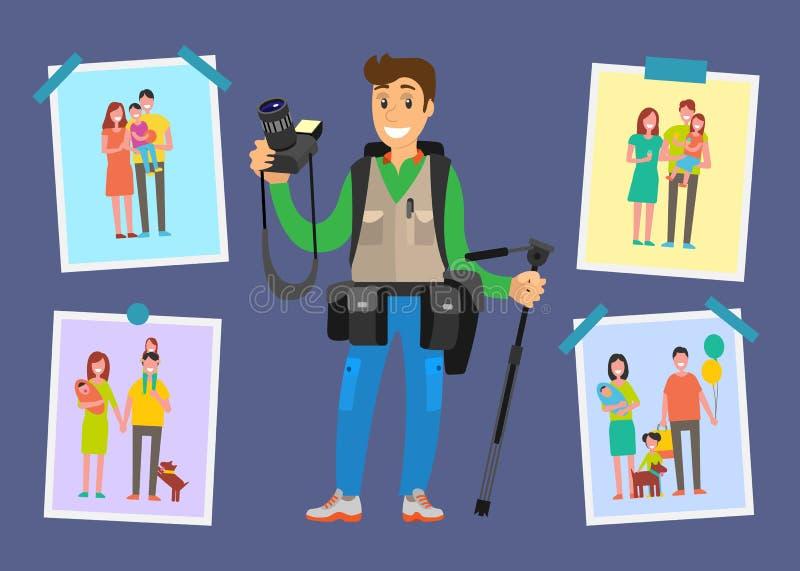 Free lance della fotografia della famiglia, campioni delle immagini illustrazione vettoriale