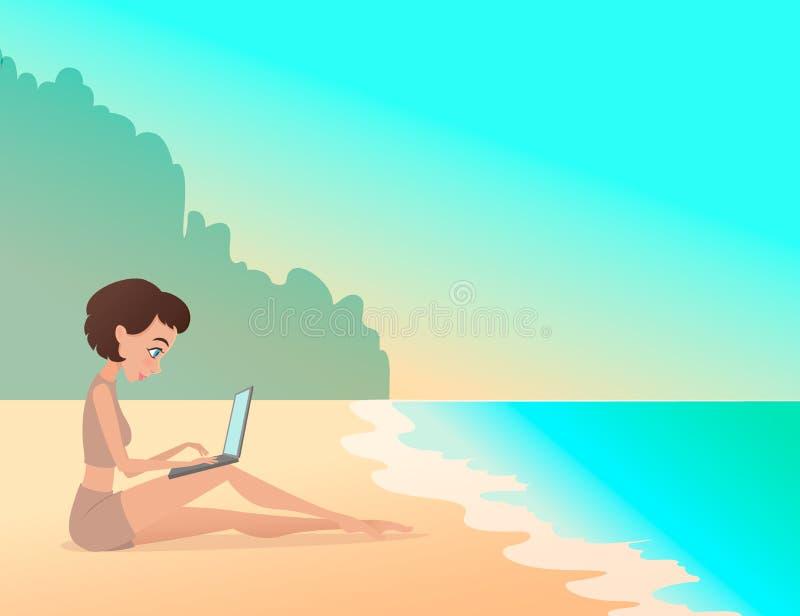 Free lance della ragazza che lavorano all'aperto sulla spiaggia con il computer portatile freelance royalty illustrazione gratis