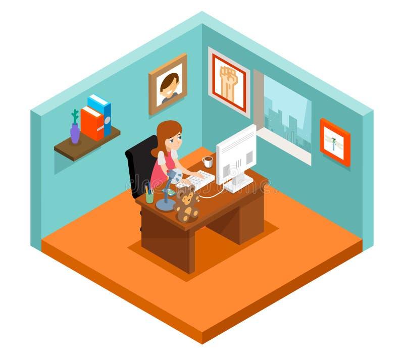 Free lance sul lavoro 3d isometrici freelance donna che lavora a casa royalty illustrazione gratis