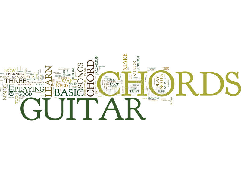 Free Lesson On Basic Guitar Chords Word Cloud Concept Stock ...