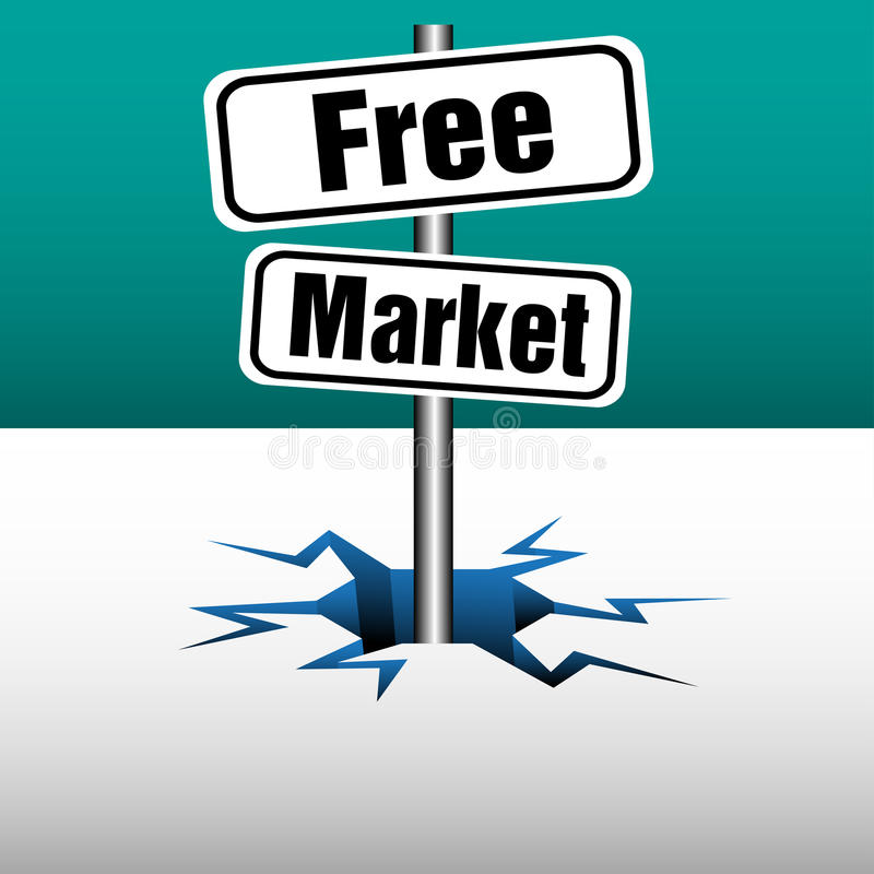 Free market plates. Abstract colorful background with two plates with the text free market coming out from an ice crack stock illustration